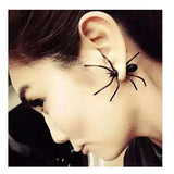2pcs halloween decoration 3d scary black spider stud earrings for haloween party diy home decoration
