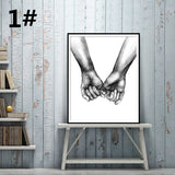 Living Room Decor Canvas Paintings Holding hands Lover Letters Printed Wall Picture Wall Art Home Decor (No Frame)