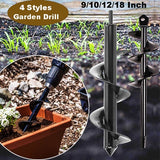 4 Styles Garden Auger Hole Digger Spiral Drill Head for Tulips, Iris, Seeds, Bedding Plants, Farm Agriculture and Digging Weeds Roots (Drill is not included)