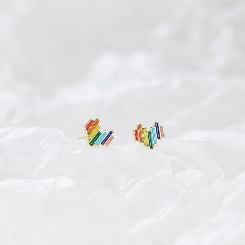 S925 Sterling Silver Love Earrings Colorful Earrings