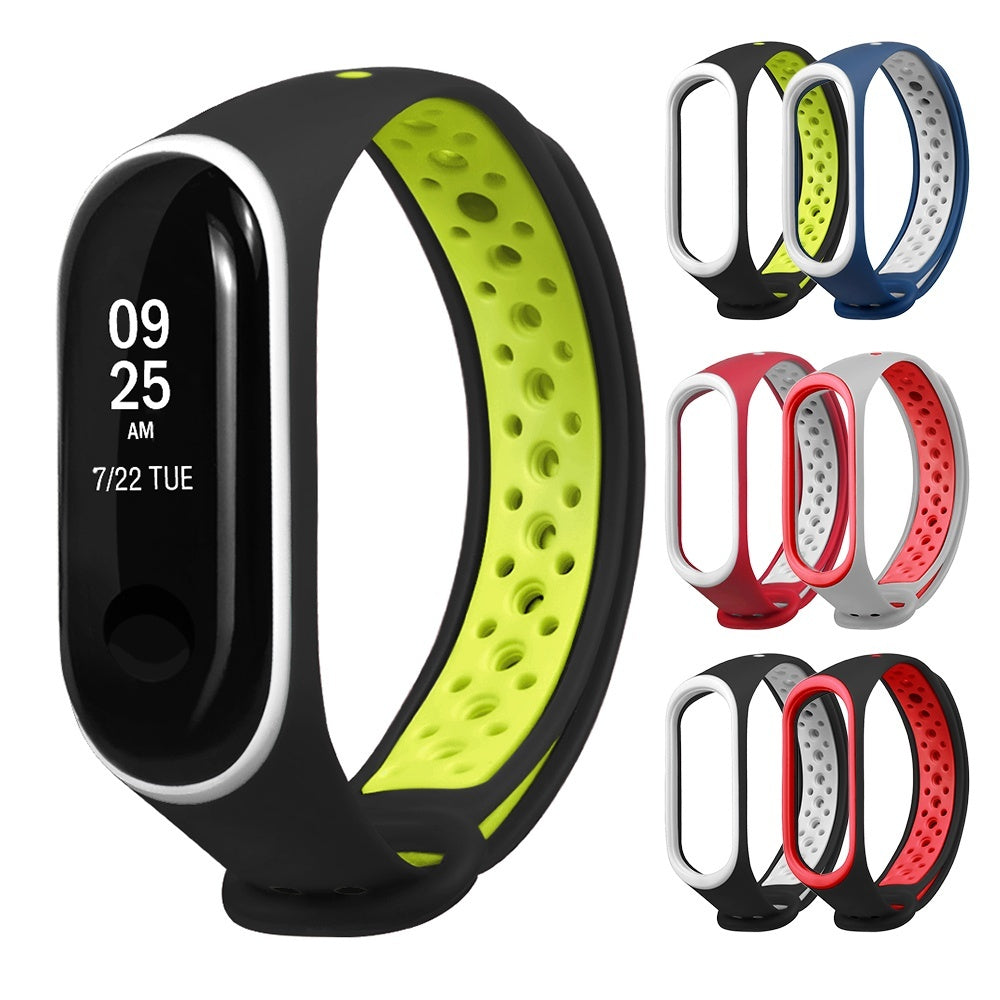 For Xiaomi Mi Band 4 3 Silicone Bracelet Wrist Strap Replacement Dual Color Smart Band Replacement Wristband Mi Band 4 3 Wrist Strap Sport Edition Watchband Smart Watch Bracelet