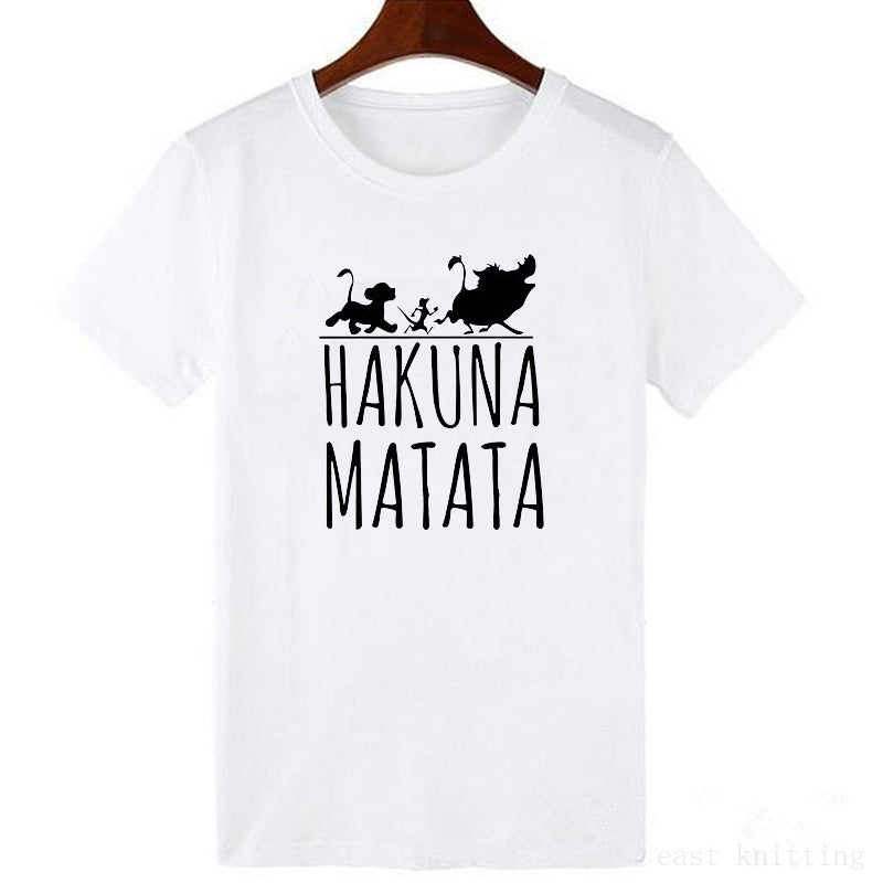Hakuna Matata Letter Print Tee Shirt Summer Women Short Sleeve T Shirt Plus Size Women Casual Cotton Top Funny T Shirt
