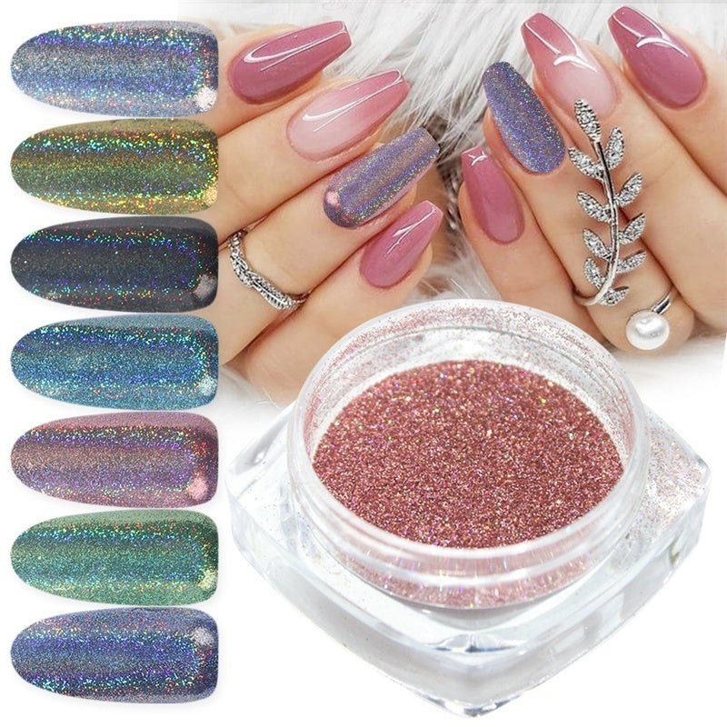 Holographic Nail Glitter Powder Rainbow Color Neon Effect Nail Art Flakes Decoration Chrome Nail Dust Tip Manicure