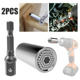 2pcs 7-19mm Universal Wrench Sleeve Grip Socket Sleeve with Power Drill Adapter
