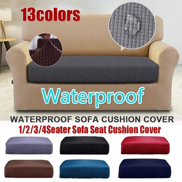 New 13 Color Waterproof 1/2/3/4 Seater Sofa Cushion Set Elastic Jacquard Polyester Spandex Sofa Seat Cover Solid Color Double Sofa Chair Cushion Sofa Cover