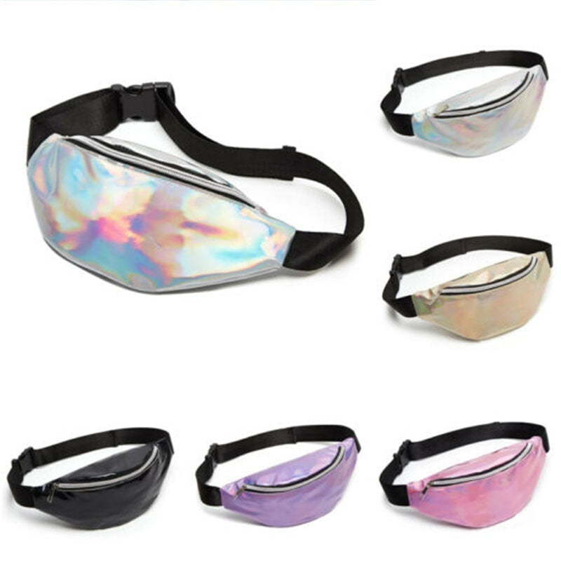 Sequin Women Men Travel Laser Waist Fanny Pack Money Belt Wallet Glitter Bum Bag Pouch Bags