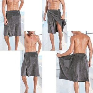 Mens Bathrobe Beach Towels Magic Button Quick Dry Shorts Skirts Homewear With Back Pocket