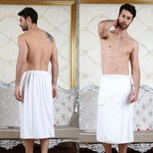 Load image into Gallery viewer, Mens Bathrobe Beach Towels Magic Button Quick Dry Shorts Skirts Homewear With Back Pocket