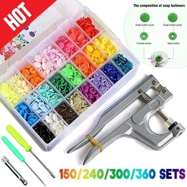 600/1440Pcs 15/24 Colors DIY Clothes T5 Plastic Fastener Snap Fastener Resin Stud Cloth Kit