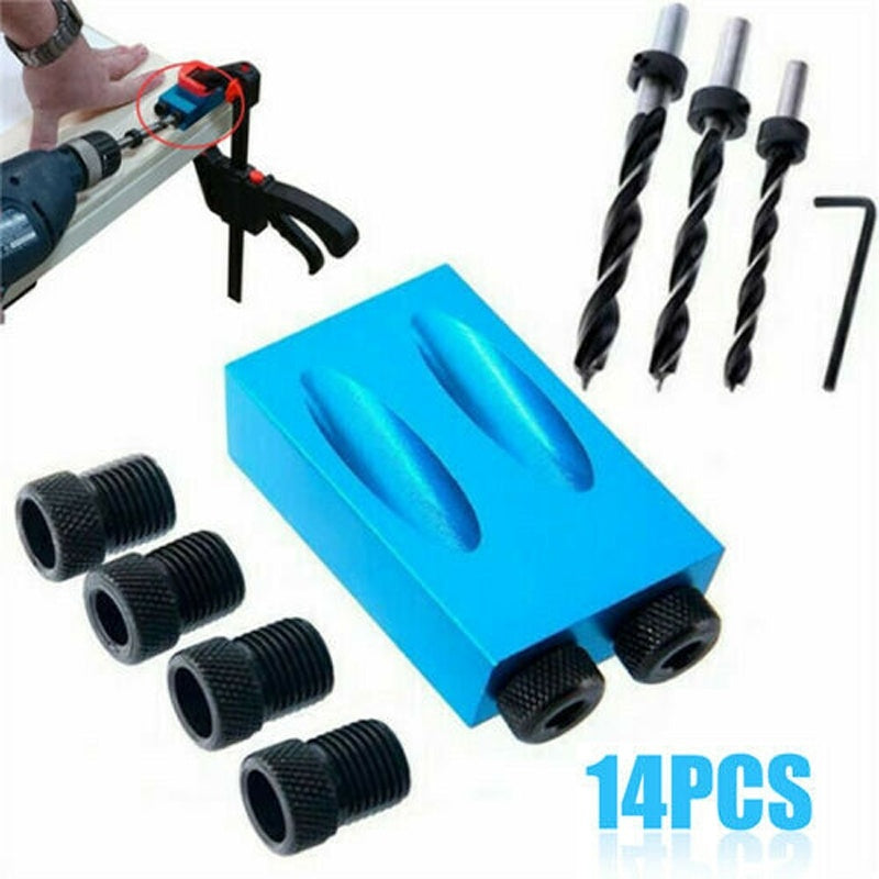 14Pcs/set 15¡ãPocket Hole Screw Jig Dowel Drill Carpenters Woodworking Tools Locator