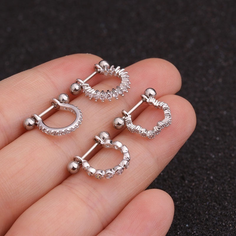 1pc Barbell With Cz Hoop Cartilage Helix Lobe Earring Ear Piercing Jewelry