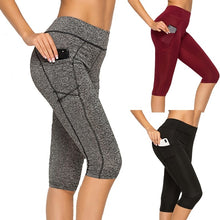 Load image into Gallery viewer, 3/4 Women Yoga Pants Leggings Fitness Gym High Waist Pocket Sportwear Jogger Pant