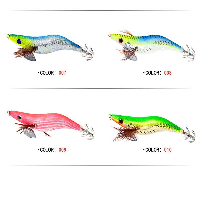 FTK 1PC Different Color Artificial Luminous Wood Shrimp Squid Jigs Jigging Winter Fishing Lure Squid Lure Hard Pesca Fishing Accessory