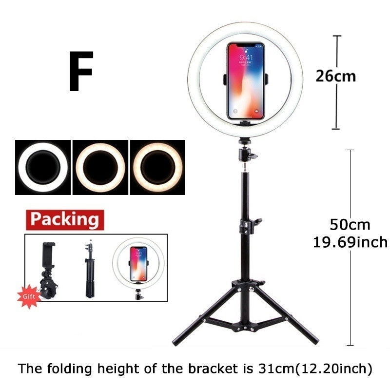 16/26cm Photography Youtube LED Selfie Three-speed Cold Warm Stepless Lighting Dimmable LED Ring Light  Phone Video Light Lamp With 50/160cm Tripod Ring Fill Light (9 Size)