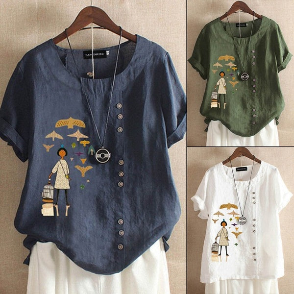2019 Women New Vintage Cotton And Linen Comic Print O Neck Short Sleeve Blouse Casual Loose Plus Size Shirt Tops Retro Elegant Short Sleeve Shirts