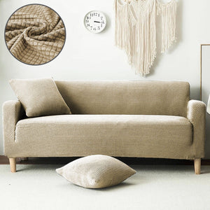 Modern Style Four Seasons Easy Fit Fleece 1/2/3 Seater Sofa Armchair Love Seat Couch Slipcover Stretch Covers Pillow Cover Elastic Fabric Settee Protector Cover