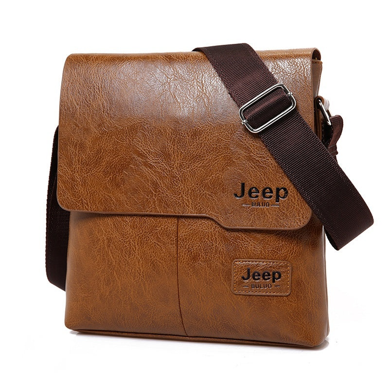 JEEP BULUO Man Messenger Bag 2 Set Men Pu Leather Shoulder Bags Business Crossbody Casual Bag Famous Brand
