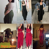 Summer Women Casual Sleeveless Rompers Jumpsuits Solid Color Suspender Ttrousers Loose Overalls Plus Size