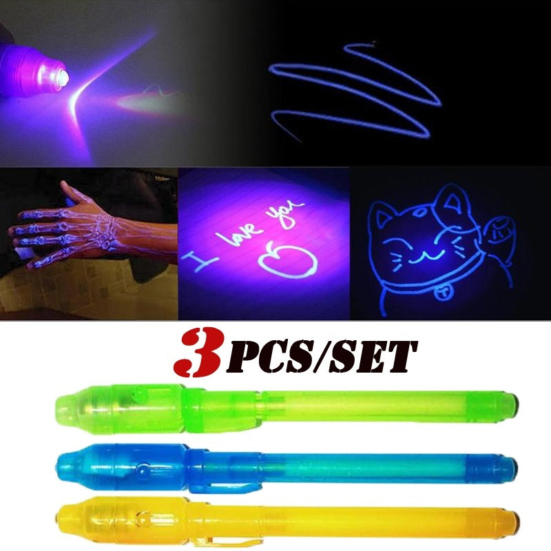 3Pcs/Set 2 in 1 Luminous Light Invisible Ink Pen UV Check Money Drawing Magic Pens Big Head Luminous Light Magic Pen