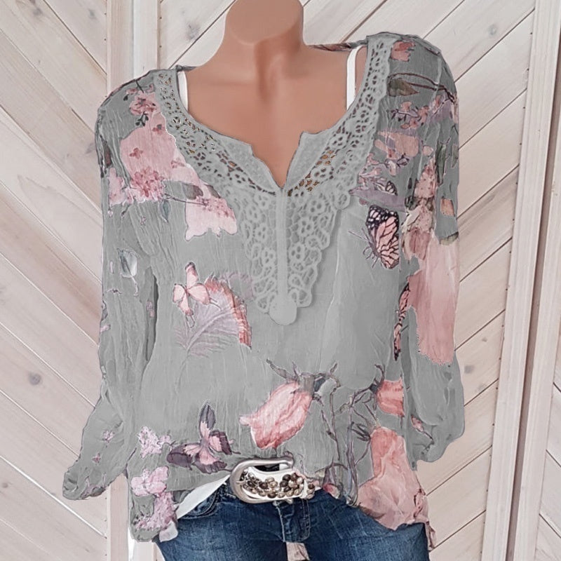 NEw Trending Clothes Women Fashion Butterfly Floral Print Long Sleeved V Collar Lace Stitching Blouse & Shirts Plus Size Tops