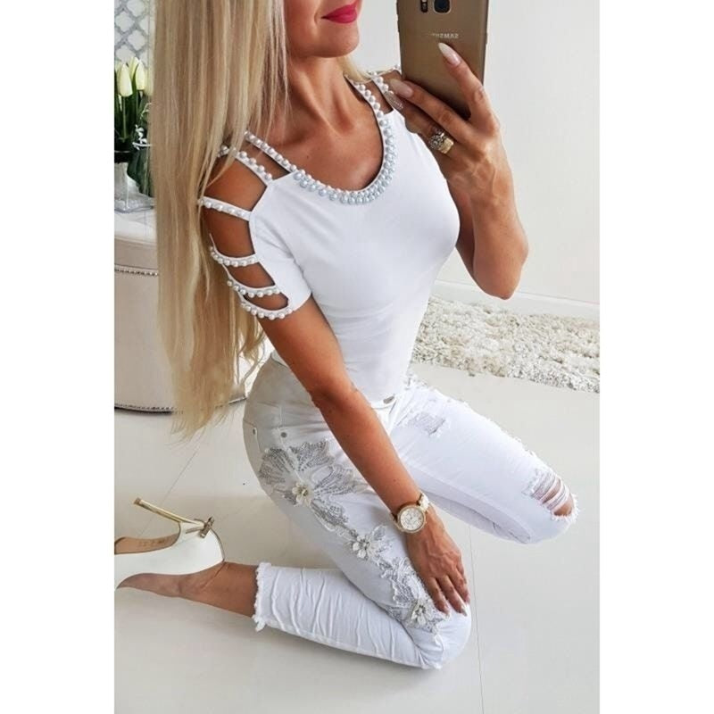 Fashion Women Off Shoulder T Shirt O Neck Short Sleeve Shirt Blouse