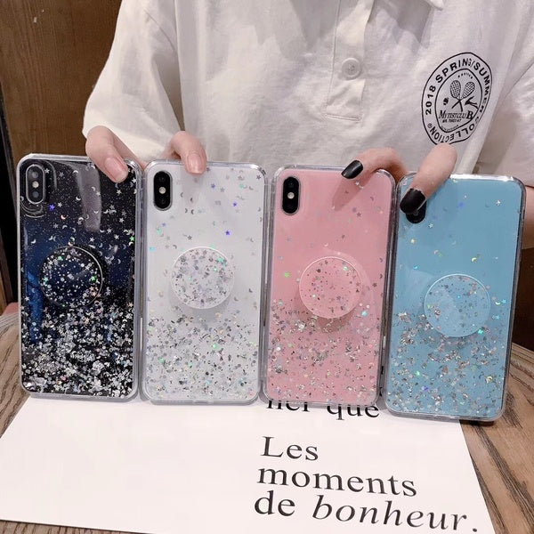 4-color flashing anti-collision phone case with convenient ring phone holder for iPhone X XS XR XS Max 6 6S 7 8 Plus transparent TPU protection back cover