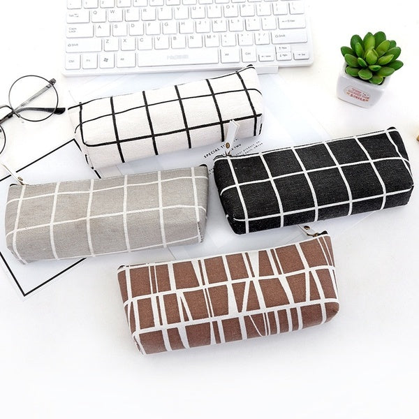 Office Students Kids Supplies Canvas Geometric Pencil Case School Simple Striped grid Solid Color Cute Kawaii Pencil Bag