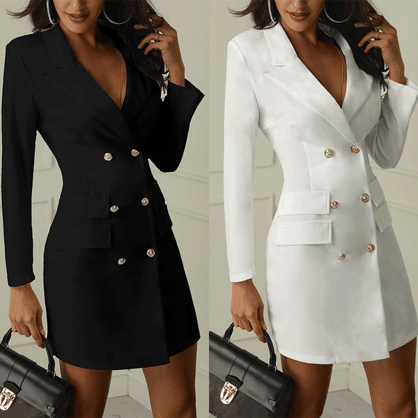 2019 Fashion Women Office Business Outfit Solid Button Midi Blazer Dress Elegant Casual Long Sleeve V Neck Blazer Coat Suit