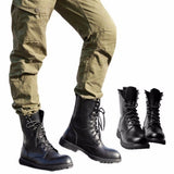 Mens Leather Black Lace Up Military Army Combat Boots Mens Ankle Boots Shoes Plus Size 38-48