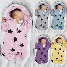 Load image into Gallery viewer, New Design Newborn Baby Rompers Cute Star Printed Jumpsuit Toddler Baby's Zipper Bodysuit Hooded Rompers Infant Baby Girls Boys Split-legged Bodysuit Long Sleeve Baby Clothing Suit for 0-3 Years 5 Colors