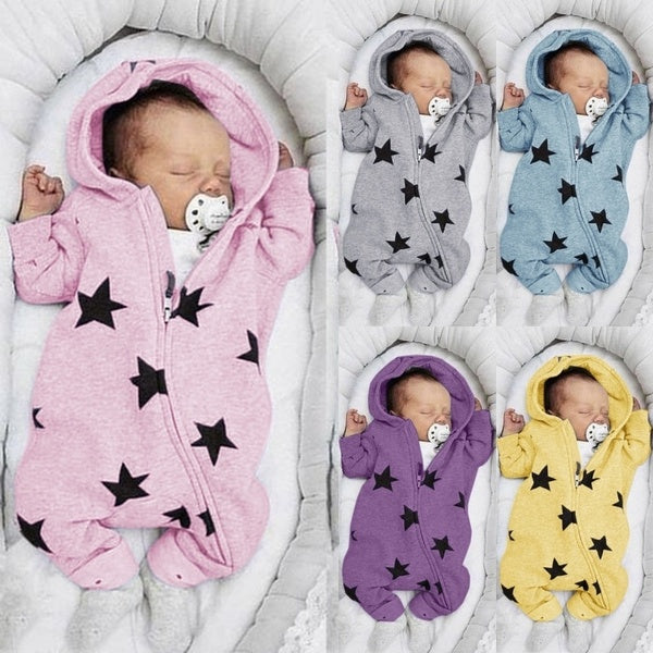 New Design Newborn Baby Rompers Cute Star Printed Jumpsuit Toddler Baby's Zipper Bodysuit Hooded Rompers Infant Baby Girls Boys Split-legged Bodysuit Long Sleeve Baby Clothing Suit for 0-3 Years 5 Colors