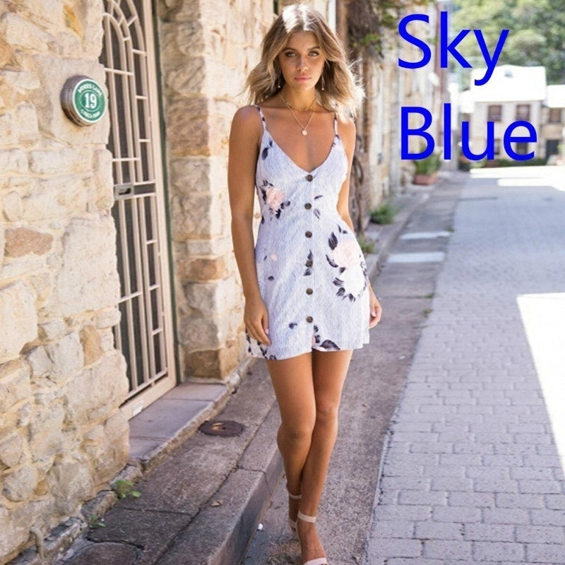 2019 Women New Fashion Dress Stretchy Camisole Dress Spaghetti Strap Backless Shoulderless  Long Tank Top Slip Summer Fashion Floral Mini Dress