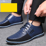 Men Fashion Casual Leather Shoes Male Business Formal Shoes Lace Up Flats Drving Shoes Plus Size 38-48