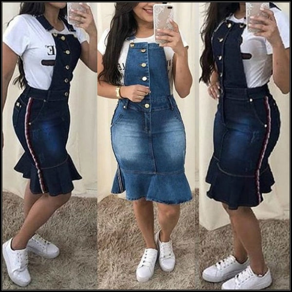 Women's Summer Ruffle Hem Slim Fit Denim Strap Dresses Washed Side Stripe Jeans Pencil Skirts Plus Size S-3XL