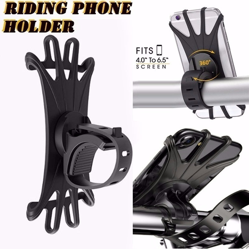 1PC 360¡ã Rotation Bike Phone Mount Silicone Bicycle Holder Motorcycle Handlebar Mount Universal Cycling Phone Holder Fits IPhone X, 8/8 Plus, 7, 6/6s Plus, Galaxy S9/S9 Plus, S8/S8 Plus