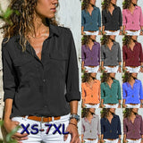 XS-7XL Plus Size Women Turn Down Collar Button-Up Shirts Womens Long Sleeve Shirts Tops V Neck Blouse