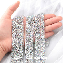 Load image into Gallery viewer, 91cm Trim Patches Crystal AB Strass Hot Fix Rhinestone Tape Applicator Ribbon With Rhinestones Iron On Appliques For Dresses
