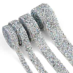 91cm Trim Patches Crystal AB Strass Hot Fix Rhinestone Tape Applicator Ribbon With Rhinestones Iron On Appliques For Dresses