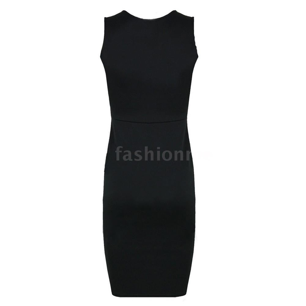 New Celebrity Women Dress PU Leather Splice Round Neck Sleeveless Elegant Slim Party Dress Black