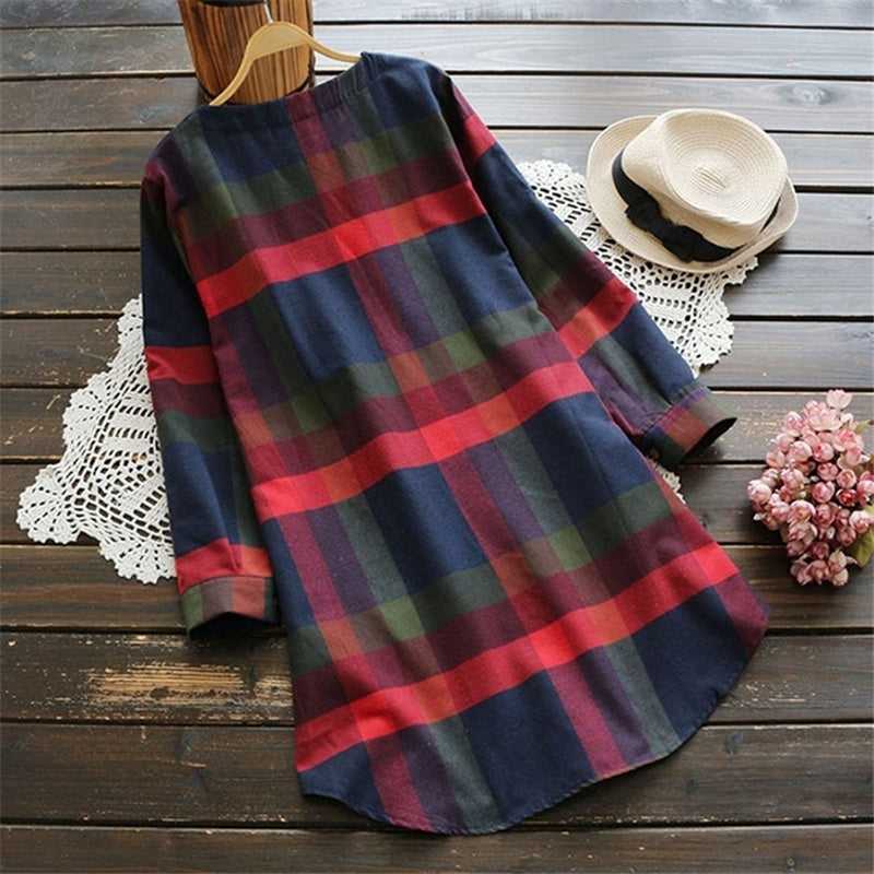 Women Fashion Casual Lattice Print Pocket Round Neck Loose Waist Dress Long Sleeve Plus Size Irregular Autumn Pullover Cotton Dress