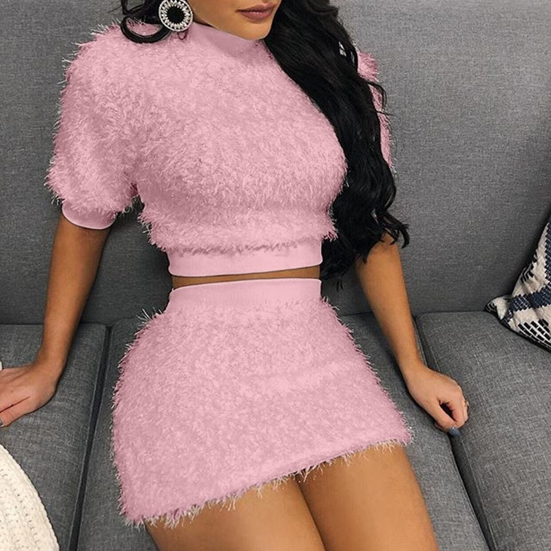 2019 Plus Size Women Fashion fur Crop Top and Skirt Set Women Winter Auterm Casual Short Sleeve T Shirt + Bodycon Skirts Two Piece Sets Outfits 6 Colors