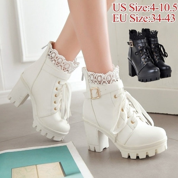 New Fashion Women's Thick High Heel Ankle Boots Ladies Leather Lace Up Martin Boots Sweet Lace Student Shoes Bottes Botines Plus Size 34-43