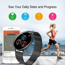Load image into Gallery viewer, Ultra-thin Stainless Steel Smart Watch for Women Men ,Color Screen Activity FitnessTracker Watch with Heart Rate Monitor ,Sleep Tracker,GPS Tracking,Call Remind,Health Tracker Smartband,Waterproof Pedometer Smart Bracelet Watches for Ios Andriod Black Sil