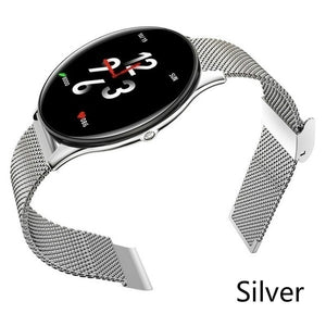 Ultra-thin Stainless Steel Smart Watch for Women Men ,Color Screen Activity FitnessTracker Watch with Heart Rate Monitor ,Sleep Tracker,GPS Tracking,Call Remind,Health Tracker Smartband,Waterproof Pedometer Smart Bracelet Watches for Ios Andriod Black Sil