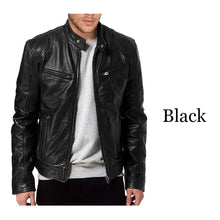 Load image into Gallery viewer, 1PC Men's Leather Jacket Motorcycle Autumn Winter Long Sleeve Coat Vintage Cool Bomber Jacket