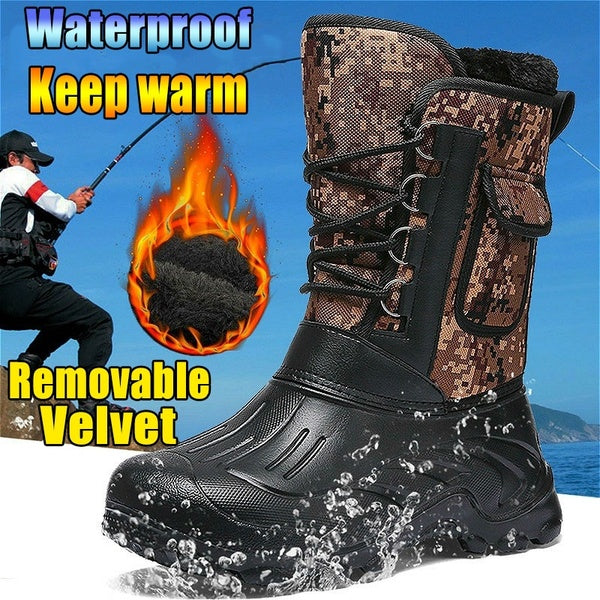 Mens Fashion Waterproof Boots Outdoor Hiking Fishing Keep Warm Boots Plus Velvet
