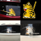 1PC Interesting Waterproof Cartoon Windshield Paw Tail Yellow Cat Car Stickers Graphics Decal Rear Window Wiper