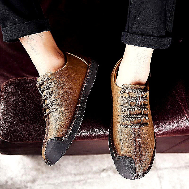 New Men's Handmade Leather Shoes Men's Breathable Casual Shoes