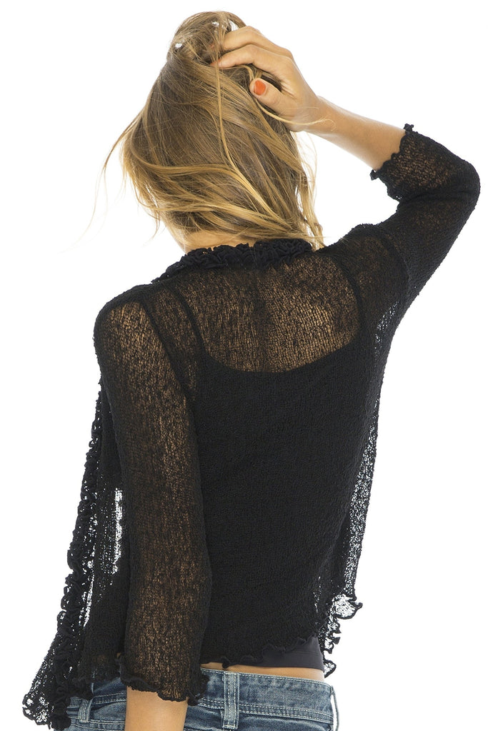 9 Colors Women's Fashion Autumn 3/4 Sleeve Lace Sheer Shrug Cardigan Lightweight Knit Mini Bolero Plus Size S-5XL