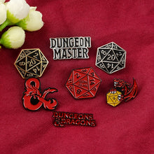 Load image into Gallery viewer, 7 Style Punk Vintage Enamel Badge Dungeons and Dragons Pin Collection  DnD  Series Magic Dragon Dice Lapel Pin